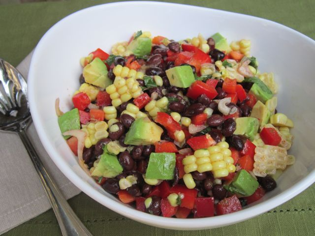 Black Bean, Corn, Red Pepper and Avocado Salad with Cilantro-Lime ...
