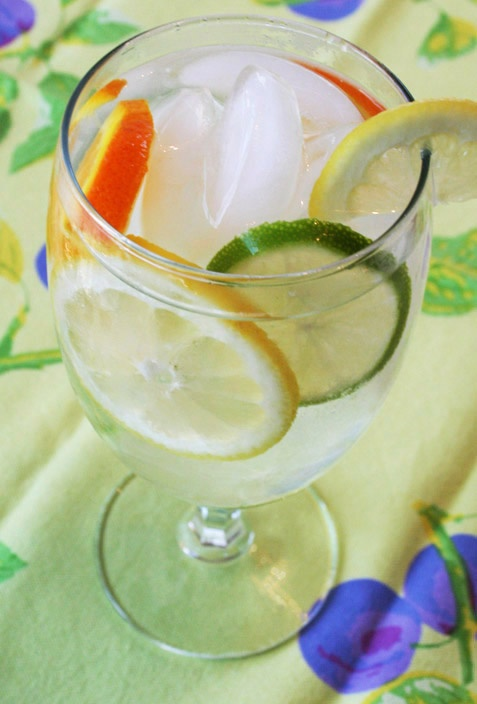 Saw this idea on SparkPeople.com  Lemon, lime, and orange to flavor you water.  Even looks better than the store bought flavored waters.  http://nancycreative.com/2010/06/25/feast-your-eyes-on-flavored-water/
