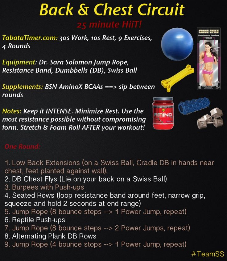 It's TRAINING TUESDAY!  Time for another hellacious HiiT home workout!  **BACK & CHEST CIRCUIT**  HiiT IT NOW! ==> http://www.drsarasolomon.com/chest-back-circuit/