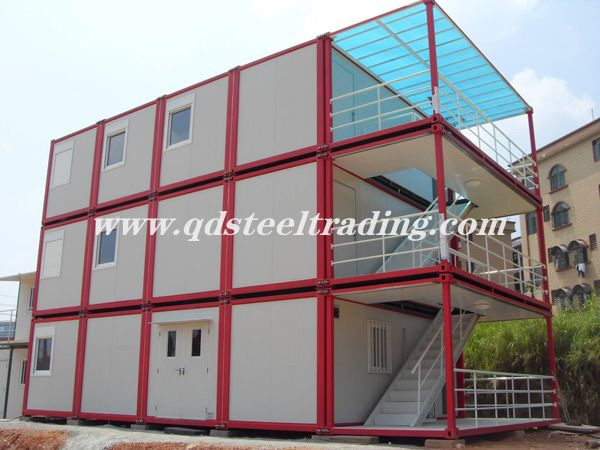 Flat Pack Containers - STEEL CONTAINER HOUSE with 3 LEVELS - The flat pack container house is made of steel structure and sandwich panel for wall with PVC windows and sandwich panel door. It is heat pr...