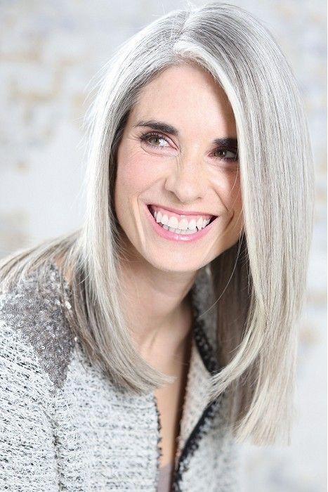 silver hair! White Hot - long grey straight hair style (21701