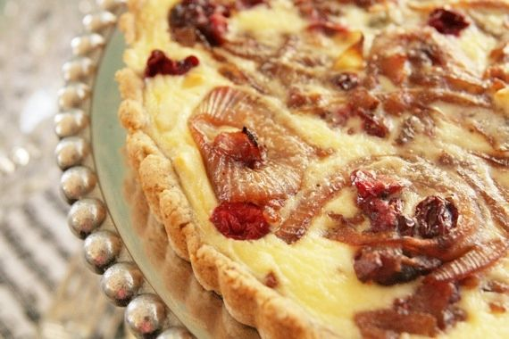 Caramelized Onion, Cranberry, Gorgonzola, and Bacon Tart with a ...