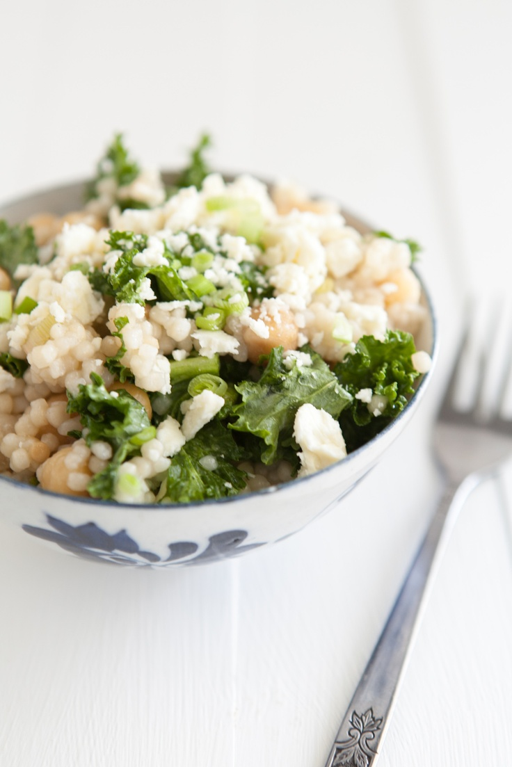 Kale and Couscous with Green Garlic Dressing | Naturally Ella