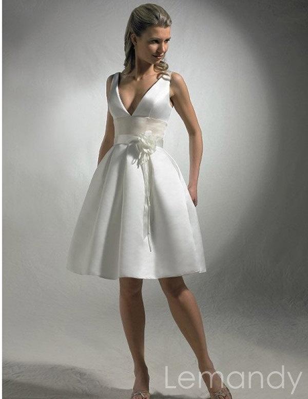 Sexy Simple V Neck Short Satin Wedding Dress