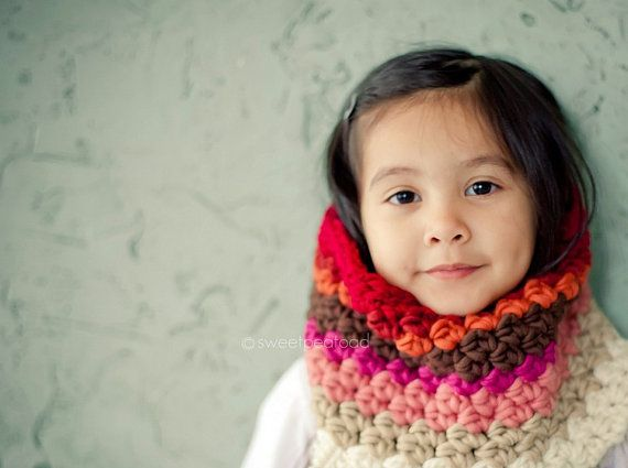 Kids Crochet Striped Cowl