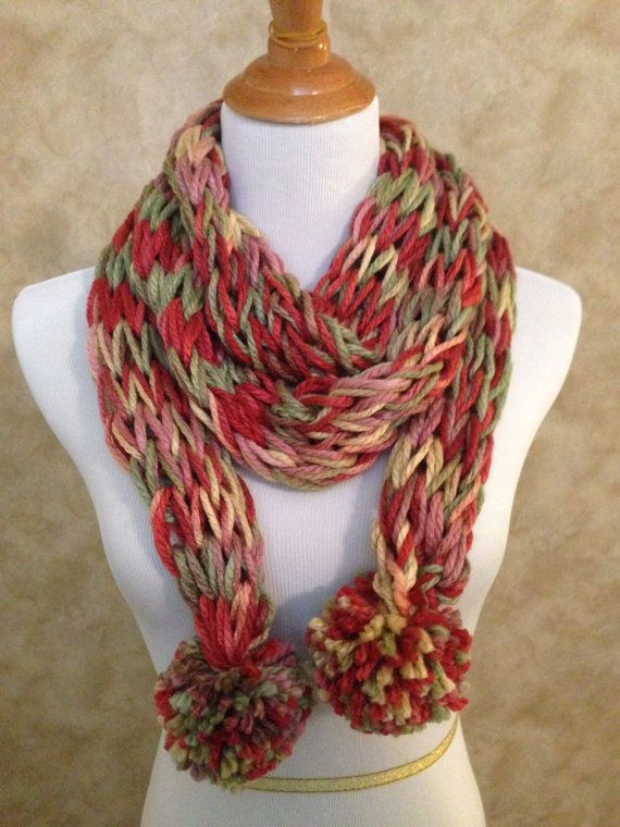 Crocheted Knit Look Scarf with Pom Poms- Accessory Scarf ...