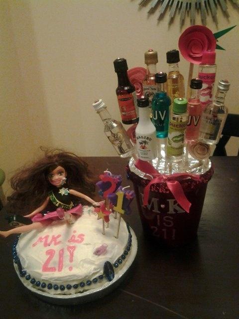 21st birthday ideas drunk barbie cake amp mini shot bouquet crafts