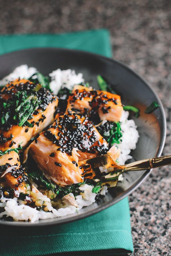 asian salmon and spinach rice bowls