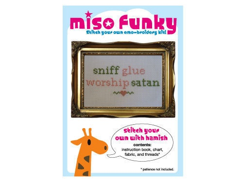 Sniff Glue, Worship Satan $6 | Cross Stitch Patterns | Pinterest