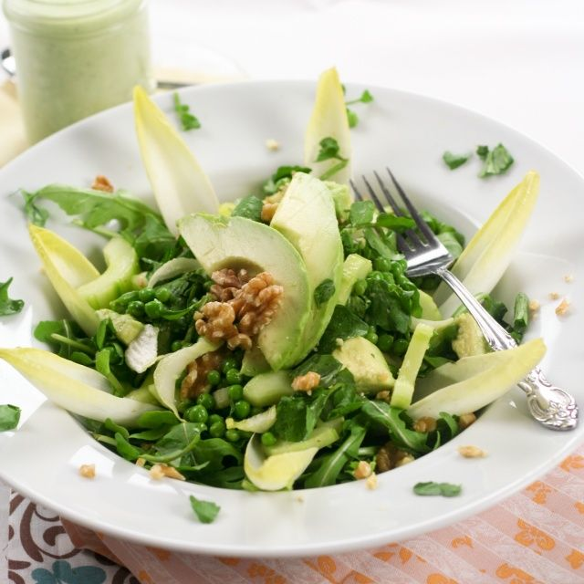 Lean Mean Green... Pea Salad (and creamy cucumber dressing)