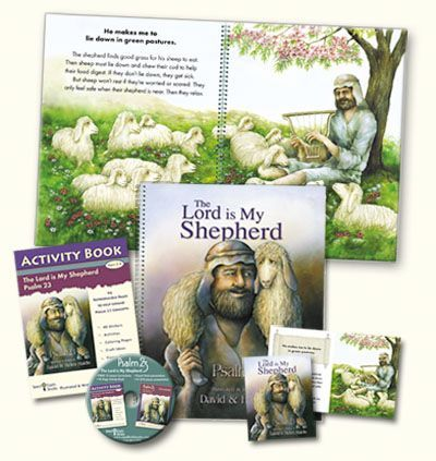 01 The Lord is My Shepherd, 23 Psalm - Curriculum Lessons DVD - Church/School Pack  - 23rd Psalm Sunday School Bible lesson curriculum, activities, crafts & more for for Children's church, Christian Schools, Preschool, Awana, Missions Outreach, VBS, & families. Memorize and Teach in depth Psalm 23. NKJV is used in Big Book and Activity Book. The CD includes 13 lessons for two age groups. These lessons are available in KJV, NKJV, NIV.