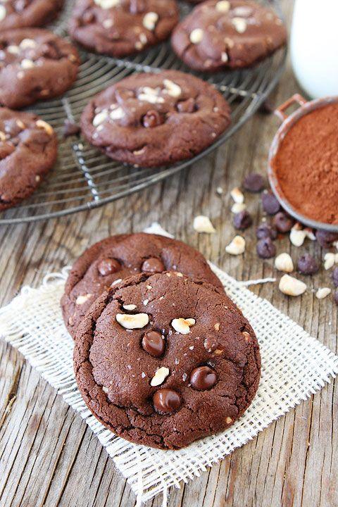 Double Chocolate Hazelnut Cookies with Sea Salt Recipe on ...