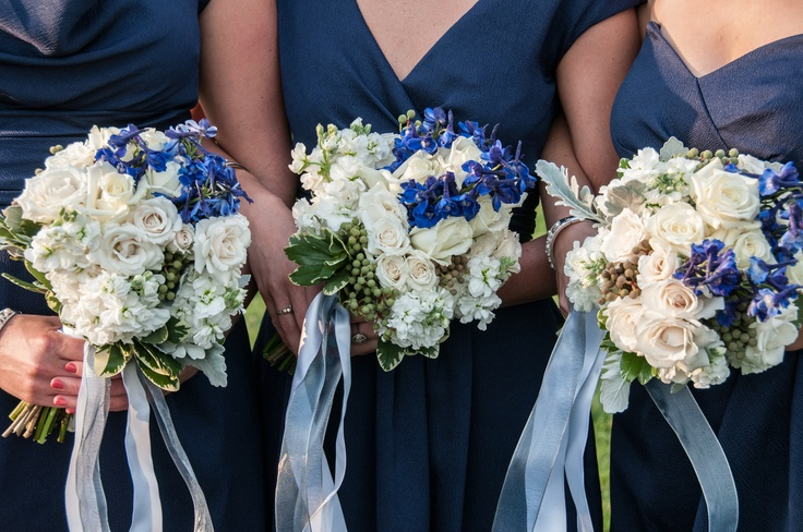 Bridesmaids Bouquets Shades Of Blue Delphinium White Stock And Roses