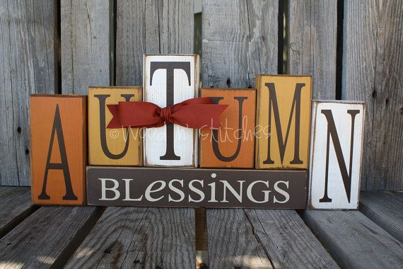 "Love these! Easy to make on your own?    ""Autumn Blessings""  Vinyl: brown, beige/off white  Paint: antique white, mustard yellow, brown, orange  Ribbon: Rust  Sizes: 7"", 6"", 5"" x 3.5"" for ""Autumn"" and ""Blessings"" - 2.5"" x 14"""