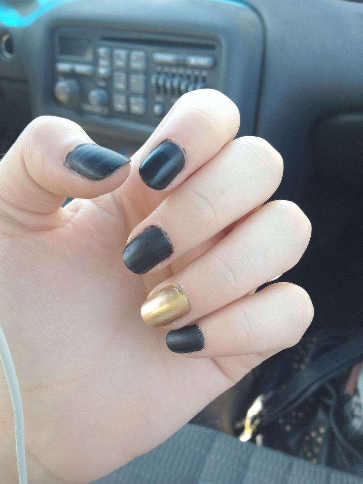 Matte Black And Gold Nails