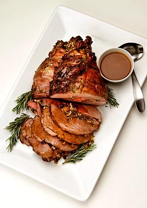 Leg of lamb stuffed with greens, feta and pine nuts: Recipe