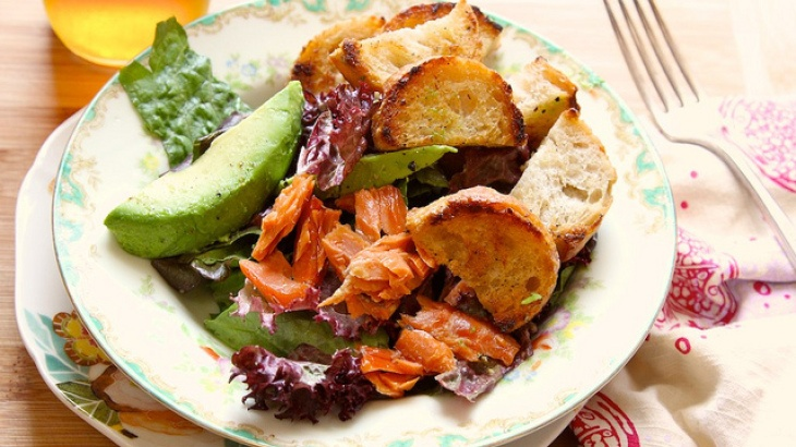 Buttered Crouton Salad with avocado and smoked salmon...perfect light ...