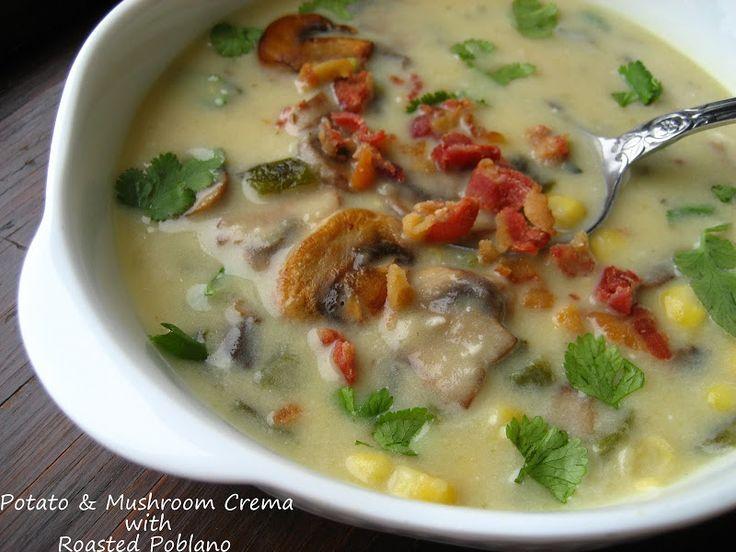 Mushroom and Potato Crema with Roasted Poblano...Rick Bayless