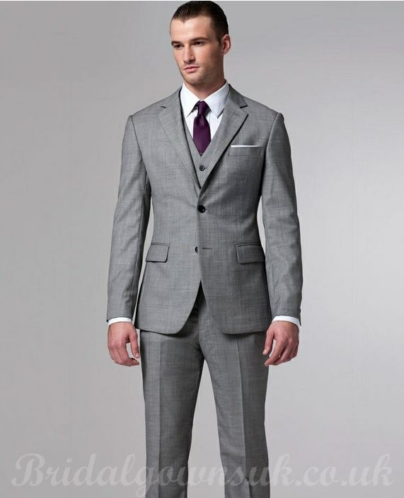 grey 3 piece suit with purple tie get started on this