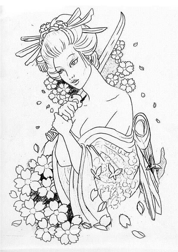 Geisha Line Art Tattoo Ideas Pinterest