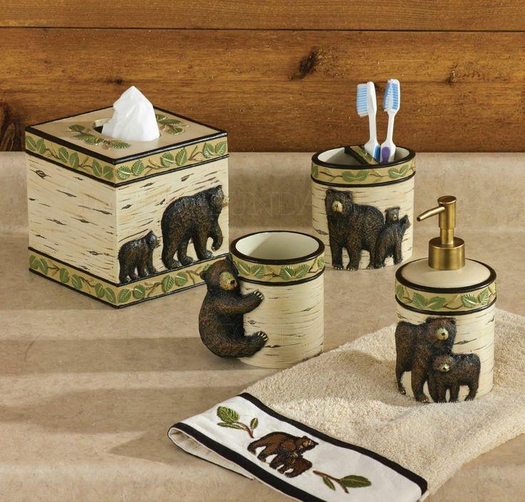 Black bear bath accessory set by park designs bear for Park designs bathroom accessories