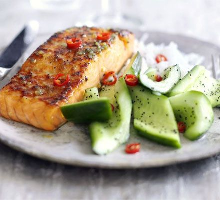 Wasabi salmon with cucumber salad | Rumble in my Tumble | Pinterest