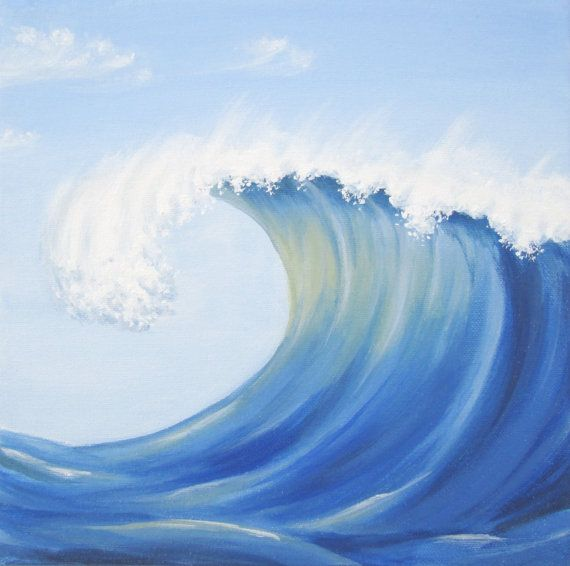 Ocean Wave Painting, Original Blue Wave Painting, Blue Sea ...