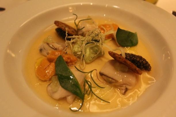 Shigoku oyster with meyer lemon custard; Golden ossetra caviar ...