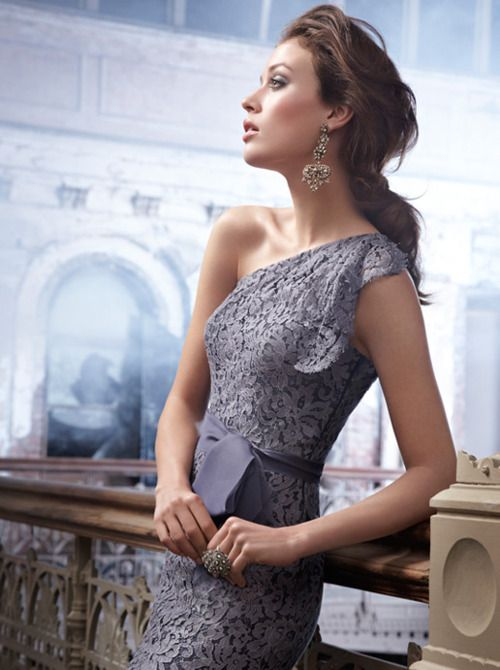 Lovely Gray Lace Dress