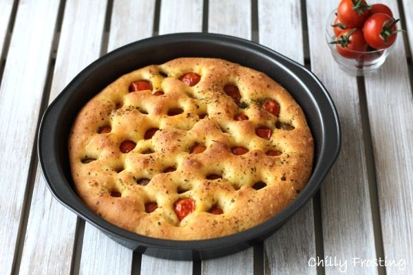 Focaccia with Cherry Tomatoes and Olives | Recipe