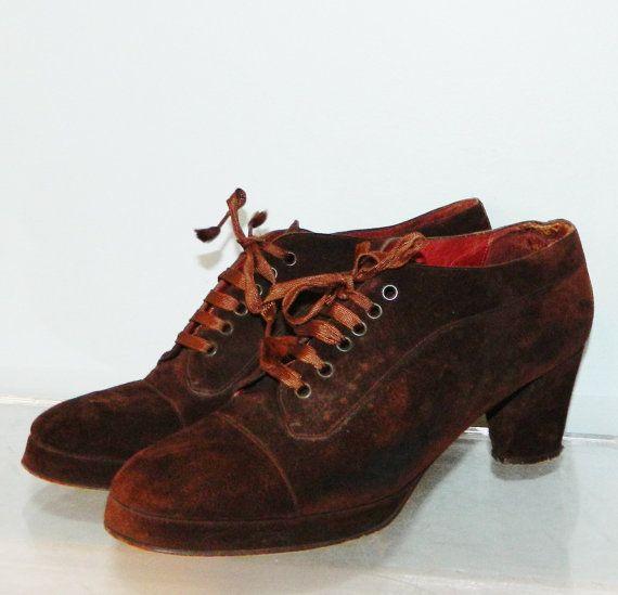 vintage 70s suede granny boots womens platform shoes 8