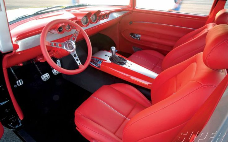 57 chevy red silver black interior auto addiction interiors pinte. Black Bedroom Furniture Sets. Home Design Ideas