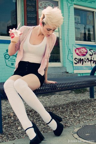 Sweet romantic look with a almond hued sweater, white camisole, high waisted dark shorts and to the knee socks nestled into a pair of sky high black platforms.  http://lookbook.nu/look/1122873-jo-s-amy-s-and-austin