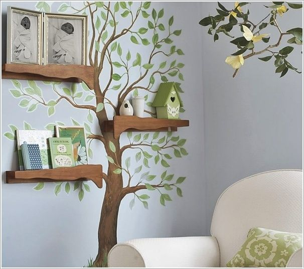 Tree shelf diy and decorating pinterest for Diy tree wall mural