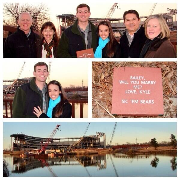 "Cute proposal!! // ""Helping to build #Baylor's new McLane Stadium one brick at a time! #Engaged"" (via kooziekennedy on Twitter) #SicEm"
