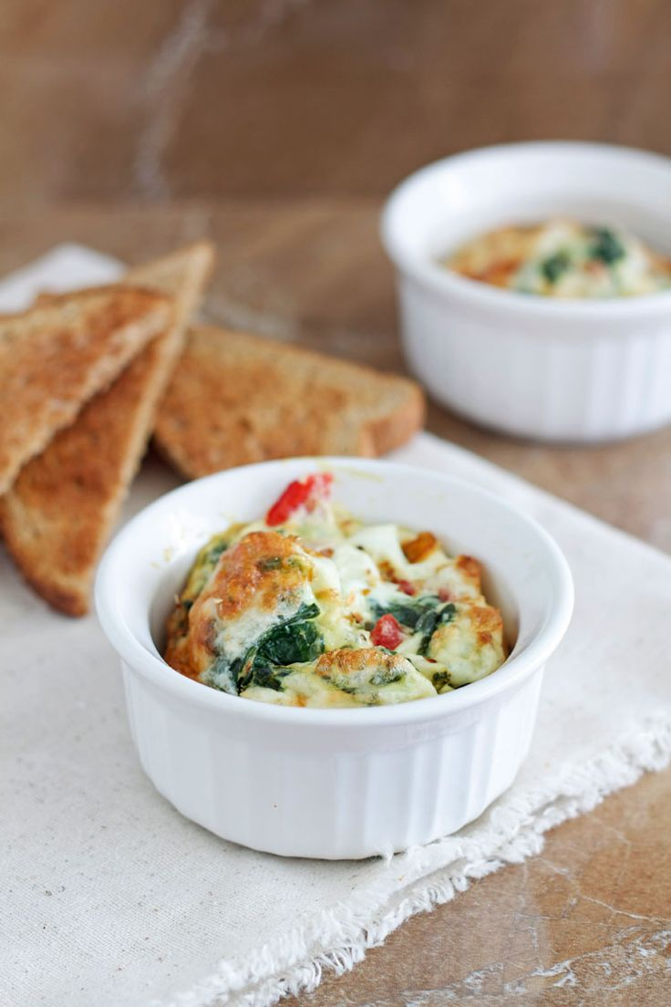 Spinach and Roasted Red Pepper Baked Eggs   Recipe