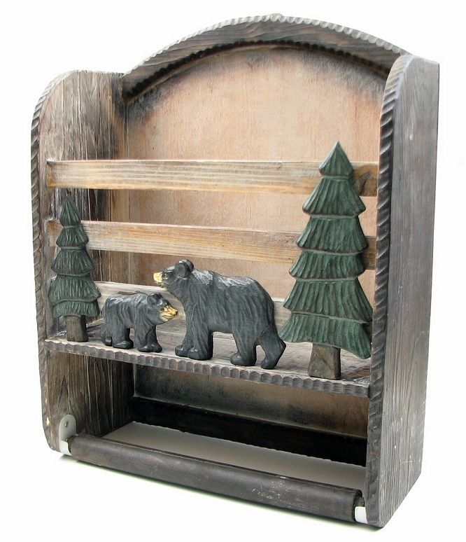 Wooden Black Bear Book Toilet Paper Holder Shelf Wall Home