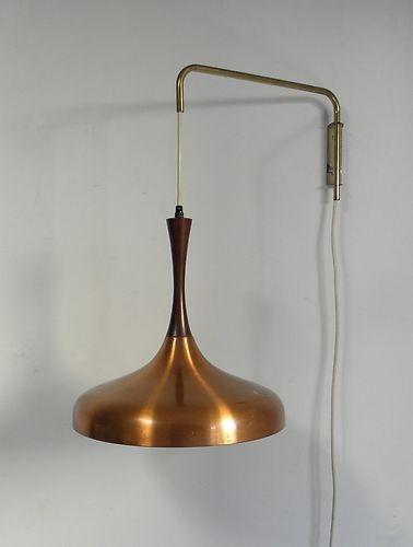 mid century danish modern hanging wall pendant lamp rosewood copper f. Black Bedroom Furniture Sets. Home Design Ideas