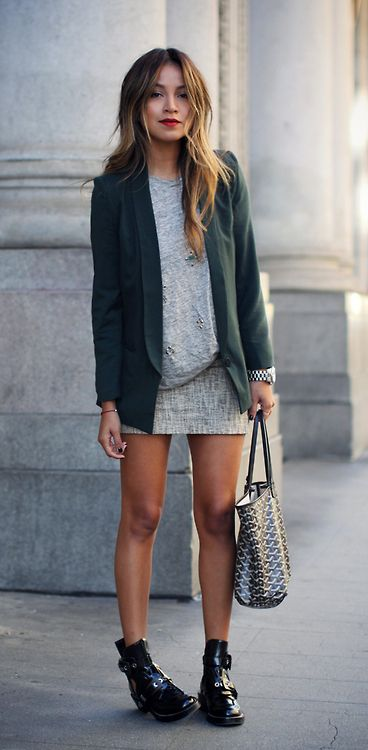 Green blazer and grey skirt