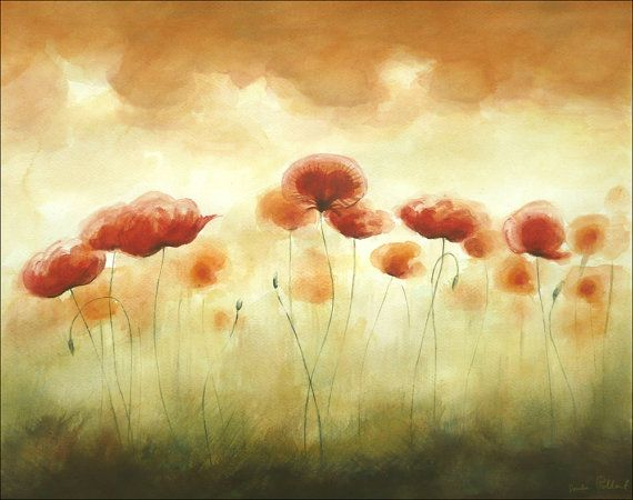 Watercolor Painting  Song of Red Poppies  Poppy Art  Big Painting    Poppies Watercolor Painting