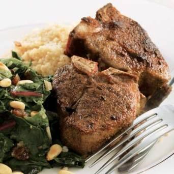 Tunisian Spiced Lamb Chops & Chard