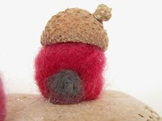 Cicideko- Mini Felted Gnome House With Acorn Hat Roof