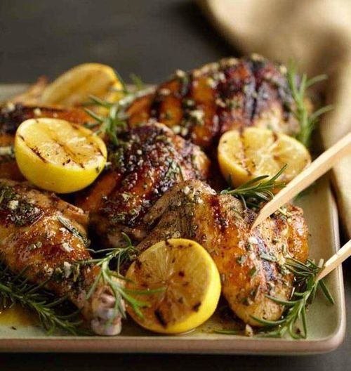 grilled chicken with lemon and herbs | foodie | Pinterest