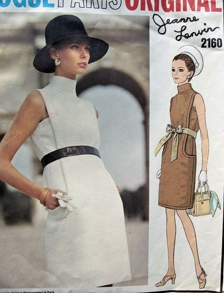 Vogue 2160 - 1969 - an interesting example of a design in the bodice blending into the pockets of the skirt