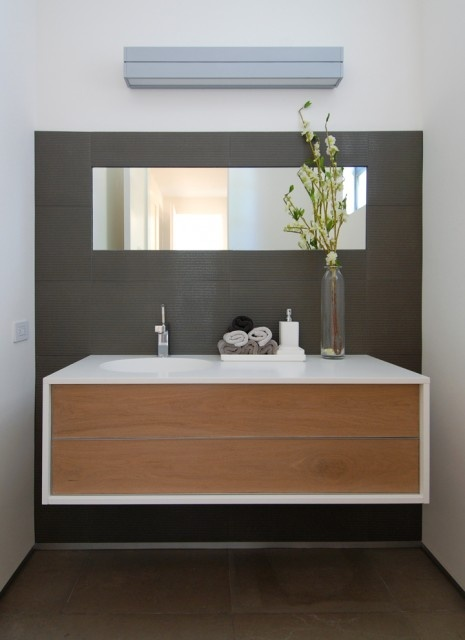Modern bathroom with floating vanity home sweet home pinterest - Ikea floating bathroom vanity using kitchen cabinets ...