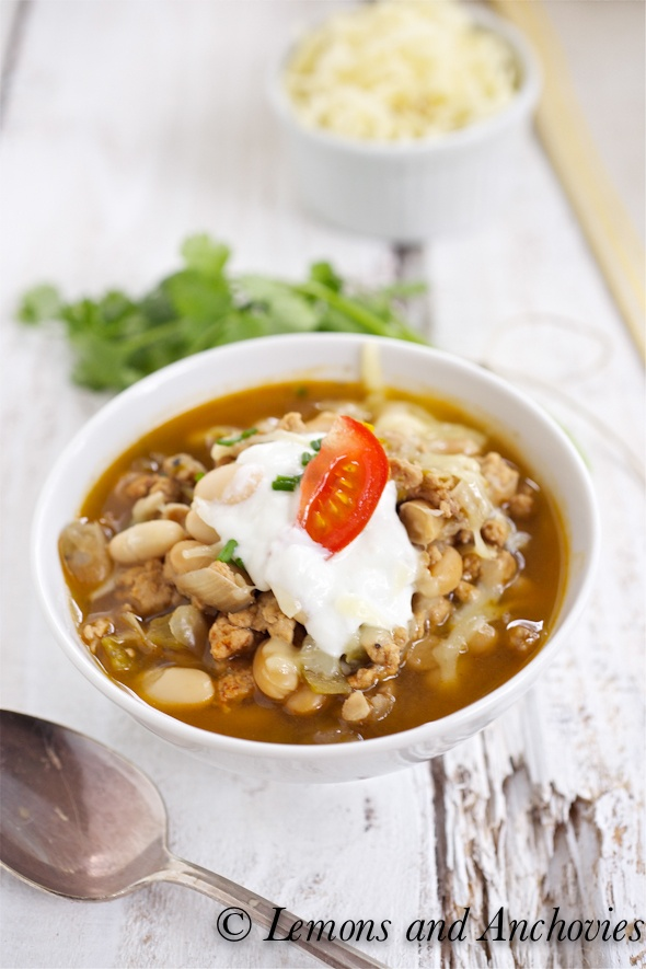 White Turkey Chili - sure looks tasty especially the garnish options ...
