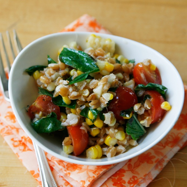 Lemony Farro Salad with Basil and Tomatoes | Recipe