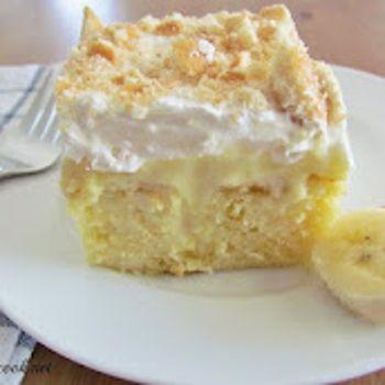 banana poke cake and boston cream poke cake