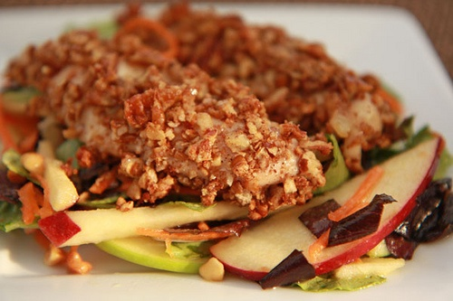 Pecan Crusted Chicken and Apple Salad with PB & Maple Dressing