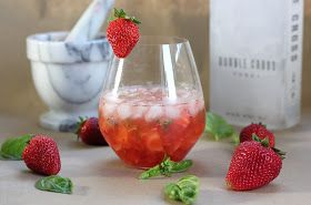 Strawberry Basil Vodka Spritzer | Cocktails | Pinterest
